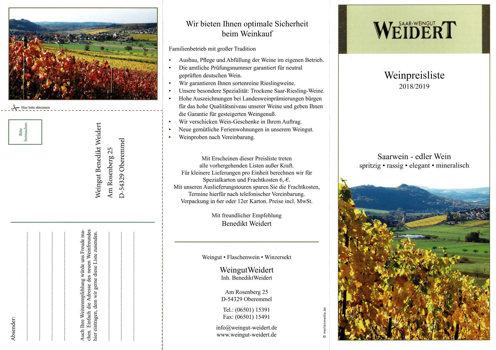 Preisliste 2018 1 Weingut Weidertweingut Weidert